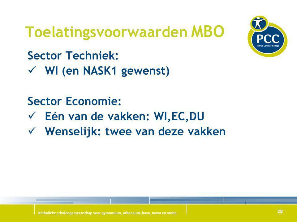 28 Toelatingsvoorwaarden MBO Sector Techniek: WI (en NASK1 gewenst) Sector Economie: Eén van de vakken: WI,EC,DU Wenselijk: twee van deze vakken