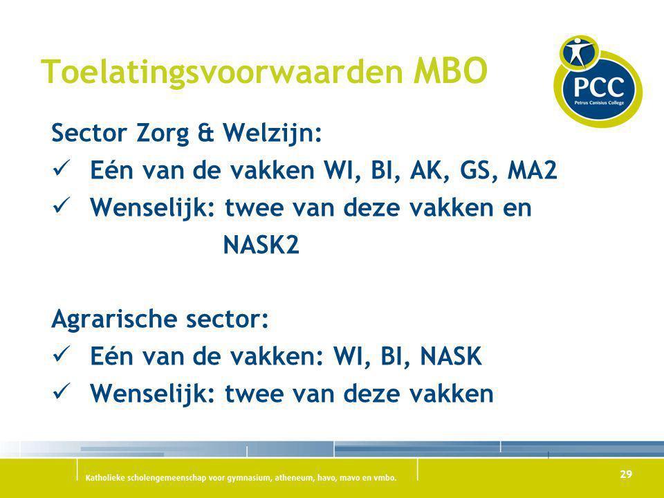 29 Toelatingsvoorwaarden MBO Sector Zorg & Welzijn: Eén van de vakken WI, BI, AK, GS, MA2 Wenselijk: twee van deze vakken en NASK2 Agrarische sector:
