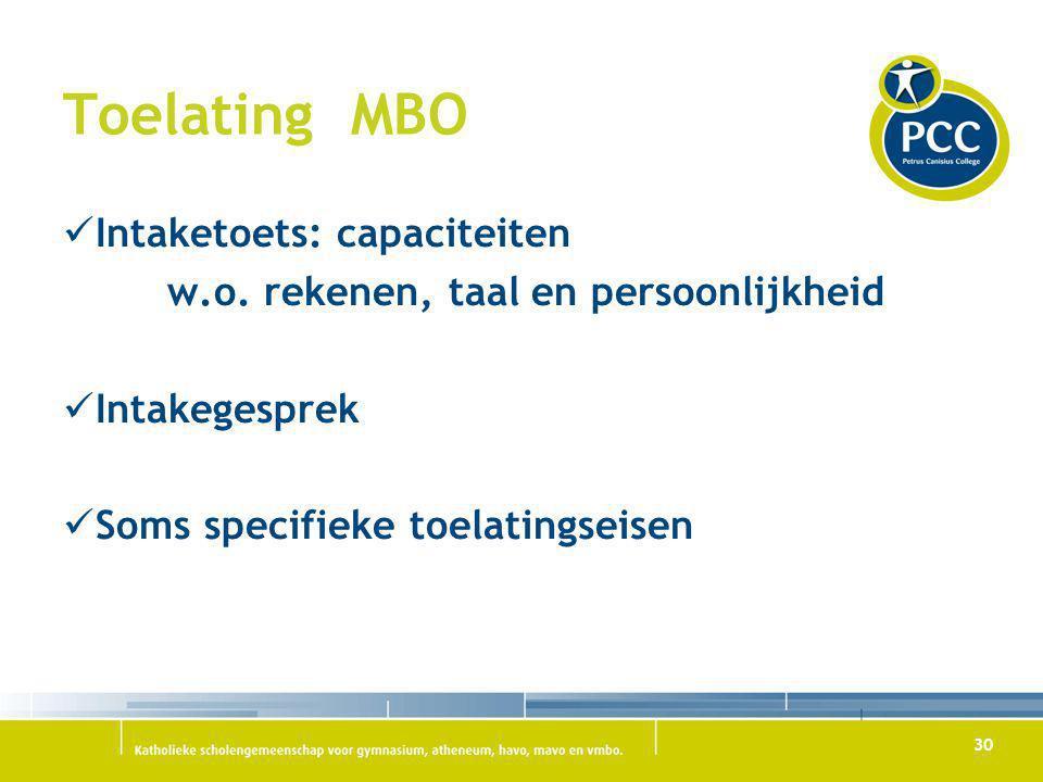30 Toelating MBO Intaketoets: capaciteiten w.o. rekenen, taal en persoonlijkheid Intakegesprek Soms specifieke toelatingseisen