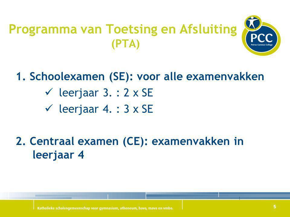 5 Programma van Toetsing en Afsluiting (PTA) 1. Schoolexamen (SE): voor alle examenvakken leerjaar 3. : 2 x SE leerjaar 4. : 3 x SE 2. Centraal examen