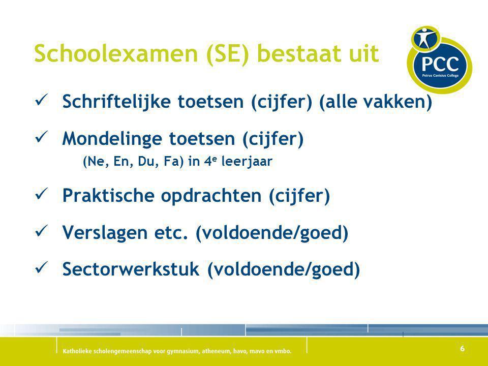 6 Schoolexamen (SE) bestaat uit Schriftelijke toetsen (cijfer) (alle vakken) Mondelinge toetsen (cijfer) (Ne, En, Du, Fa) in 4 e leerjaar Praktische o