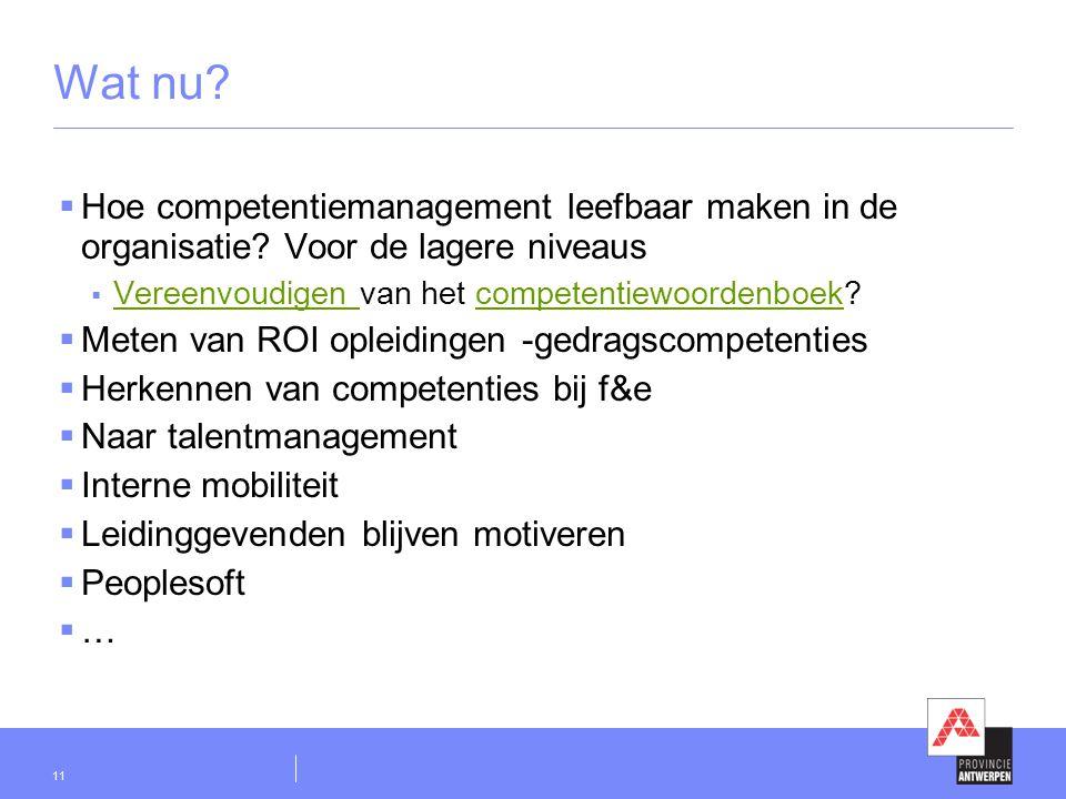11 Wat nu?  Hoe competentiemanagement leefbaar maken in de organisatie? Voor de lagere niveaus  Vereenvoudigen van het competentiewoordenboek? Veree