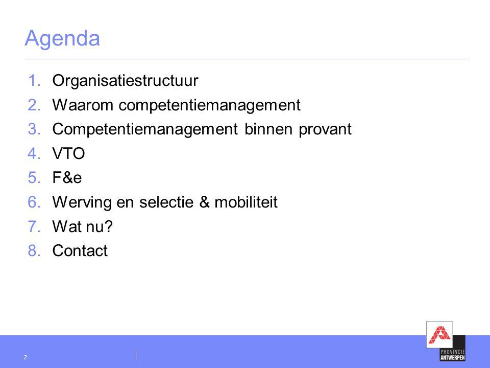 2 Agenda  Organisatiestructuur  Waarom competentiemanagement  Competentiemanagement binnen provant  VTO  F&e  Werving en selectie & mobili