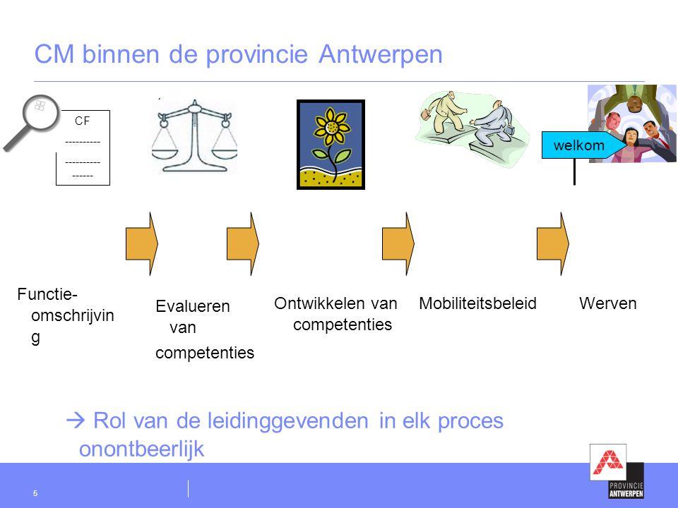 5 CM binnen de provincie Antwerpen CF ---------- ---------- ------ ( Evalueren van competenties Ontwikkelen van competenties WervenMobiliteitsbeleid F