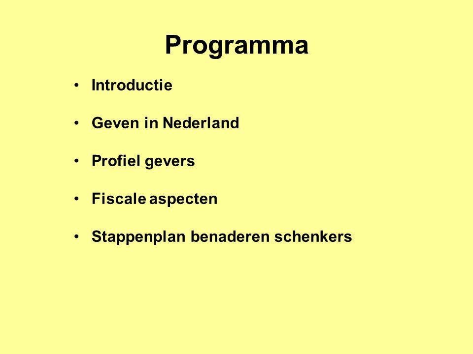 Programma Introductie Geven in Nederland Profiel gevers Fiscale aspecten Stappenplan benaderen schenkers