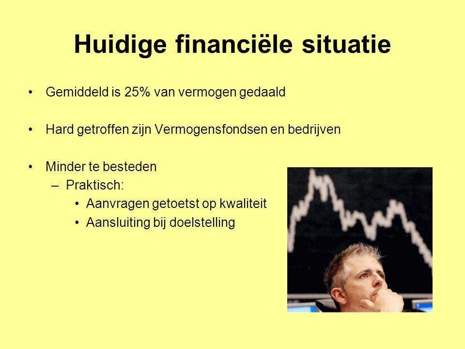 Huidige financiële situatie Gemiddeld is 25% van vermogen gedaald Hard getroffen zijn Vermogensfondsen en bedrijven Minder te besteden –Praktisch: Aan