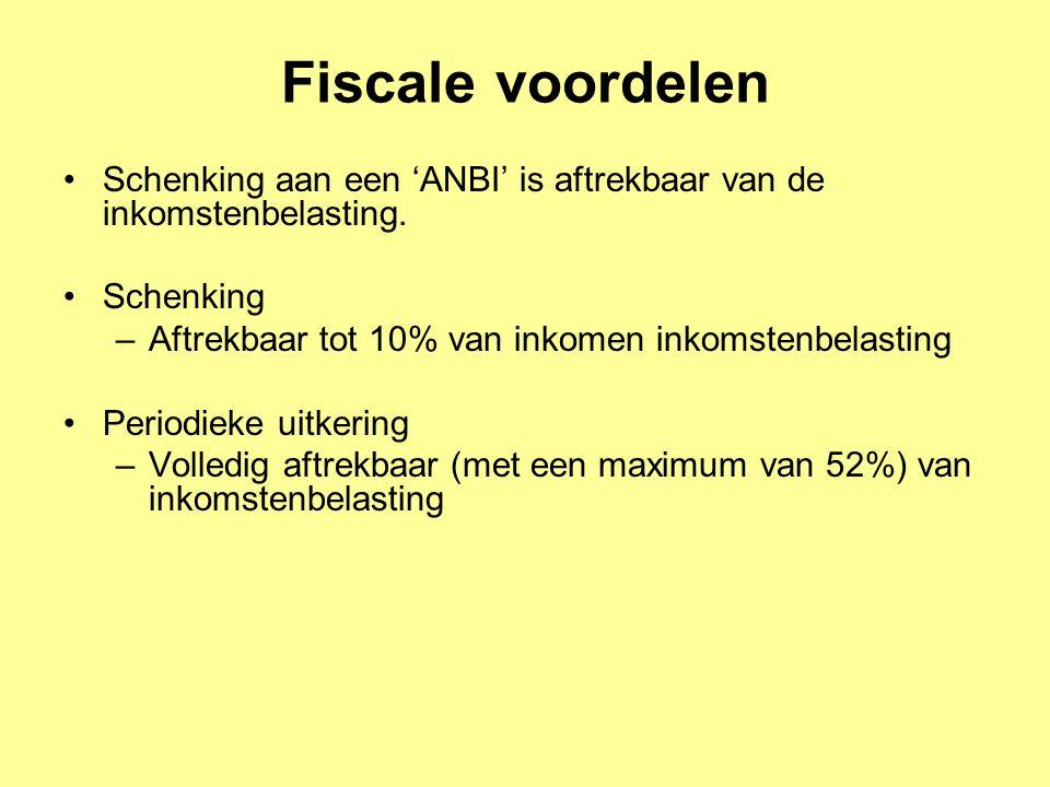 Fiscale voordelen Schenking aan een 'ANBI' is aftrekbaar van de inkomstenbelasting. Schenking –Aftrekbaar tot 10% van inkomen inkomstenbelasting Perio