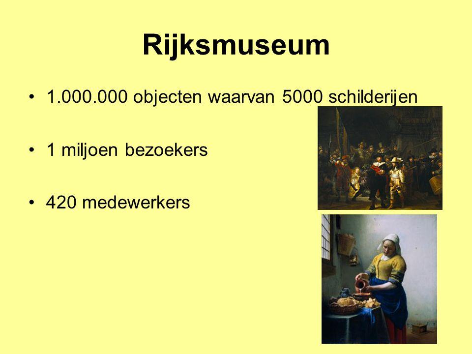 Rijksmuseum 1.000.000 objecten waarvan 5000 schilderijen 1 miljoen bezoekers 420 medewerkers