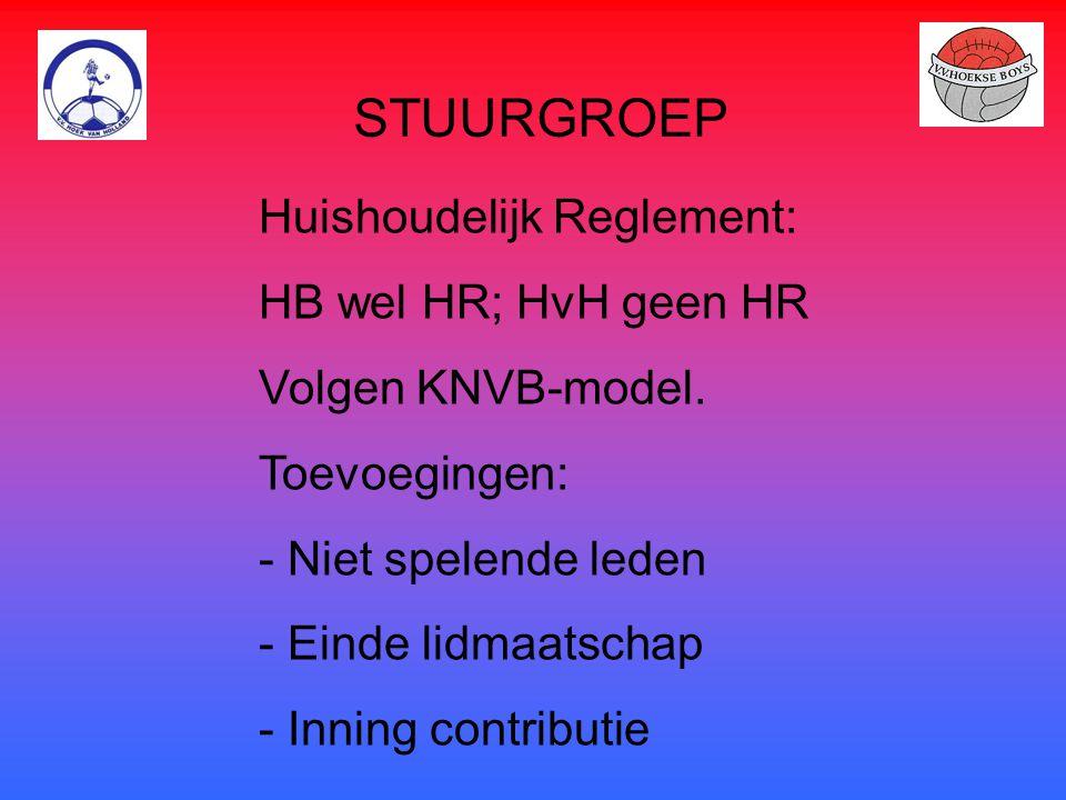 STUURGROEP Huishoudelijk Reglement: HB wel HR; HvH geen HR Volgen KNVB-model. Toevoegingen: - Niet spelende leden - Einde lidmaatschap - Inning contri