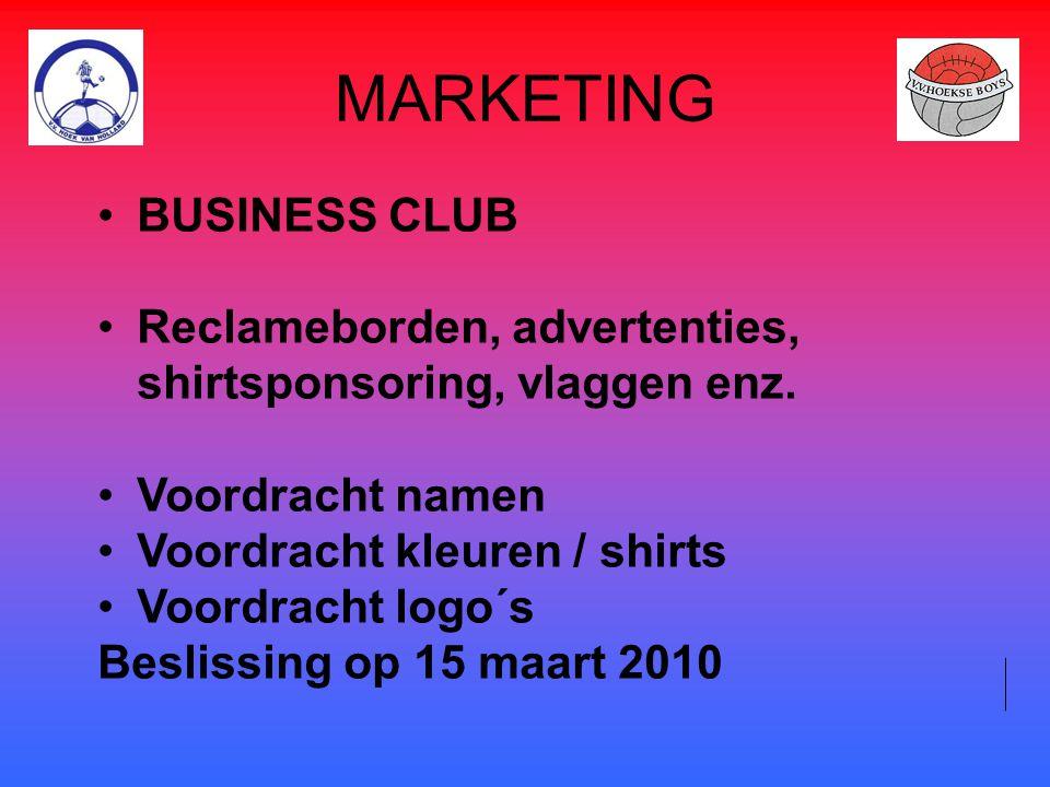 MARKETING BUSINESS CLUB Reclameborden, advertenties, shirtsponsoring, vlaggen enz. Voordracht namen Voordracht kleuren / shirts Voordracht logo´s Besl