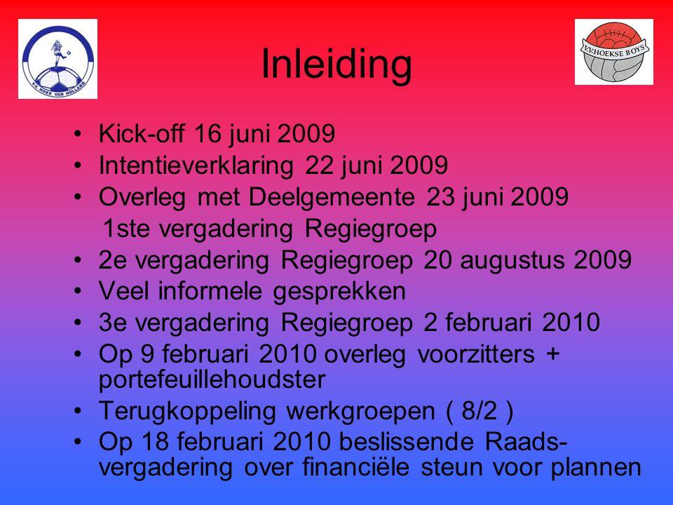 Inleiding Kick-off 16 juni 2009 Intentieverklaring 22 juni 2009 Overleg met Deelgemeente 23 juni 2009 1ste vergadering Regiegroep 2e vergadering Regie