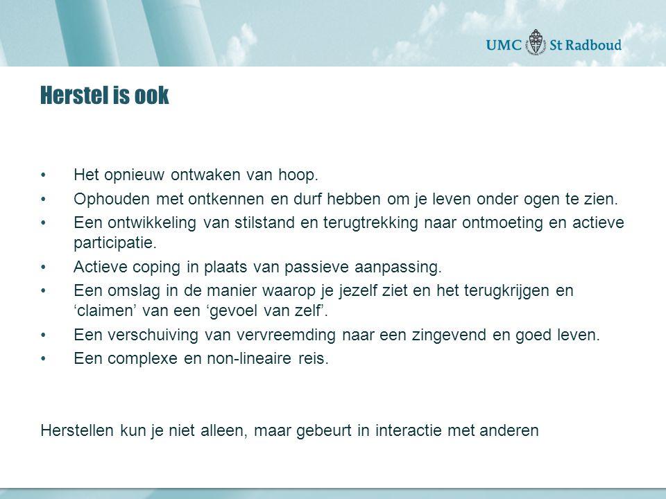 Onderzoekscentrum maatschappelijke zorg gedreven door kennis, bewogen door mensen Herstel is ook Het opnieuw ontwaken van hoop.