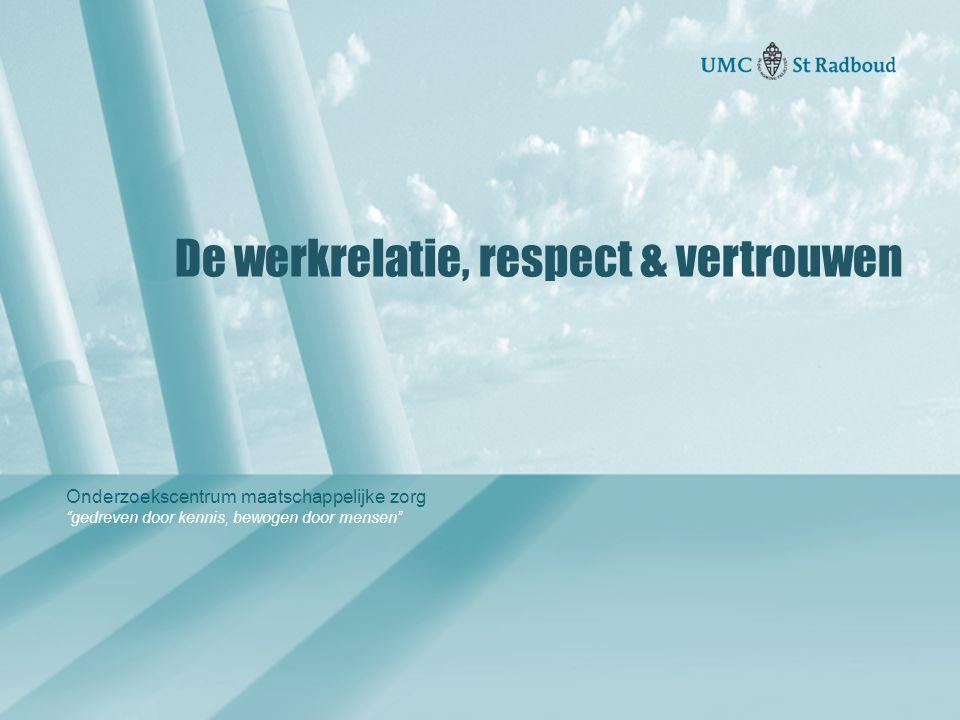 Onderzoekscentrum maatschappelijke zorg gedreven door kennis, bewogen door mensen De werkrelatie, respect & vertrouwen