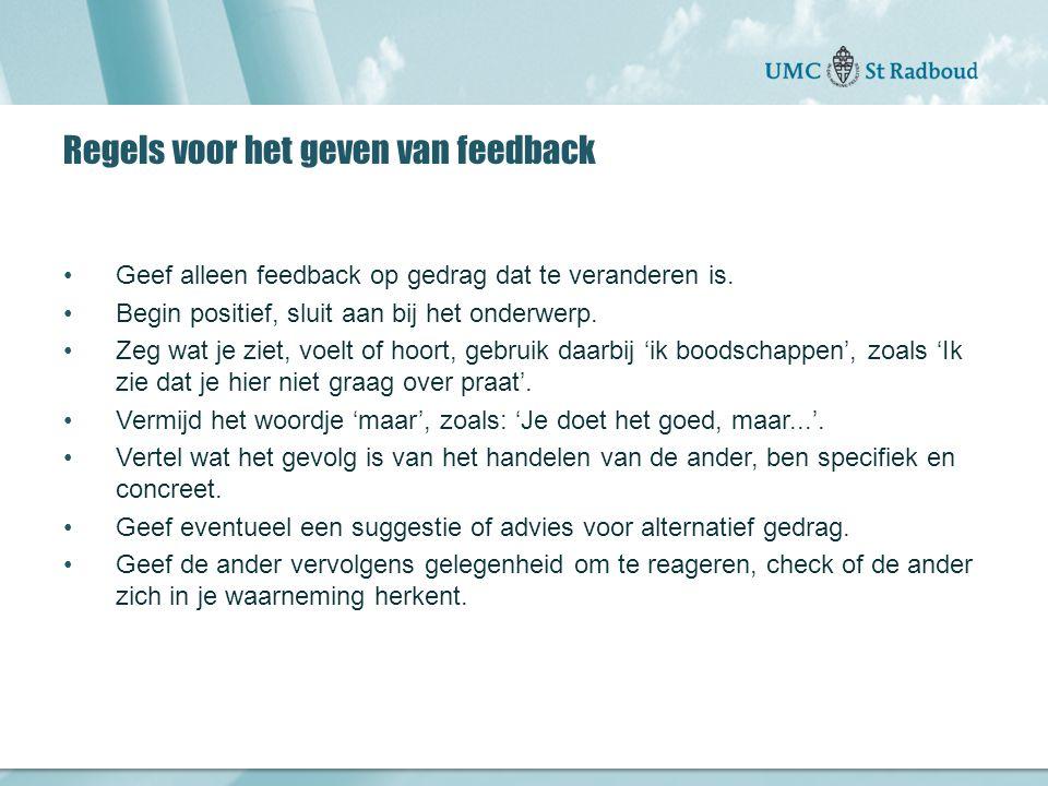 Onderzoekscentrum maatschappelijke zorg gedreven door kennis, bewogen door mensen Regels voor het geven van feedback Geef alleen feedback op gedrag dat te veranderen is.
