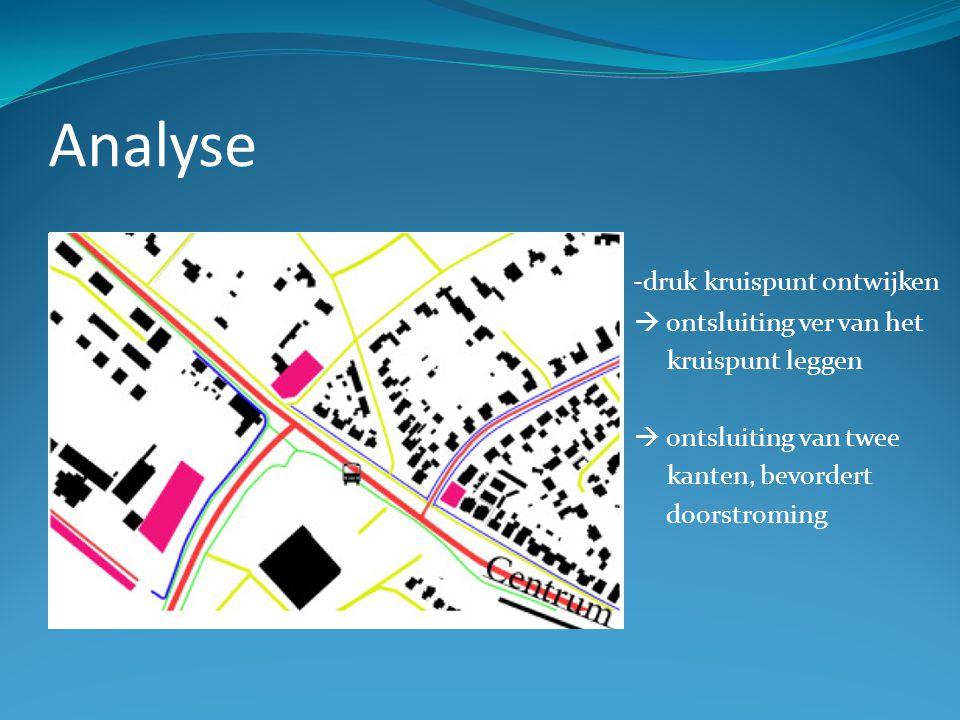 Analyse -druk kruispunt ontwijken  ontsluiting ver van het kruispunt leggen  ontsluiting van twee kanten, bevordert doorstroming