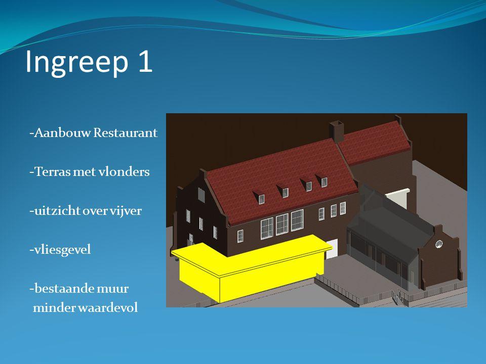 Ingreep 1 -Aanbouw Restaurant -Terras met vlonders -uitzicht over vijver -vliesgevel -bestaande muur minder waardevol