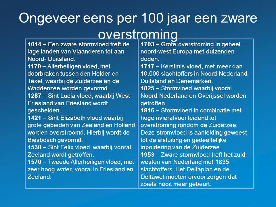 Ongeveer eens per 100 jaar een zware overstroming 1014 – Een zware stormvloed treft de lage landen van Vlaanderen tot aan Noord- Duitsland. 1170 – All