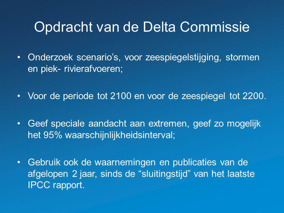 Opdracht van de Delta Commissie Onderzoek scenario's, voor zeespiegelstijging, stormen en piek- rivierafvoeren; Voor de periode tot 2100 en voor de zeespiegel tot 2200.