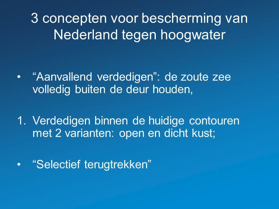 3 concepten voor bescherming van Nederland tegen hoogwater Aanvallend verdedigen : de zoute zee volledig buiten de deur houden, 1.Verdedigen binnen de huidige contouren met 2 varianten: open en dicht kust; Selectief terugtrekken