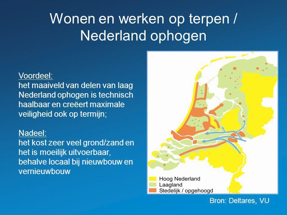 Wonen en werken op terpen / Nederland ophogen Voordeel: het maaiveld van delen van laag Nederland ophogen is technisch haalbaar en creëert maximale veiligheid ook op termijn; Nadeel: het kost zeer veel grond/zand en het is moeilijk uitvoerbaar, behalve locaal bij nieuwbouw en vernieuwbouw Bron: Deltares, VU