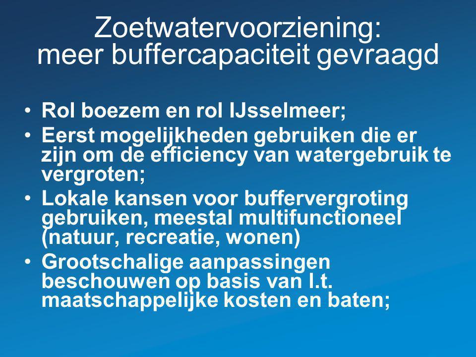 Zoetwatervoorziening: meer buffercapaciteit gevraagd Rol boezem en rol IJsselmeer; Eerst mogelijkheden gebruiken die er zijn om de efficiency van wate