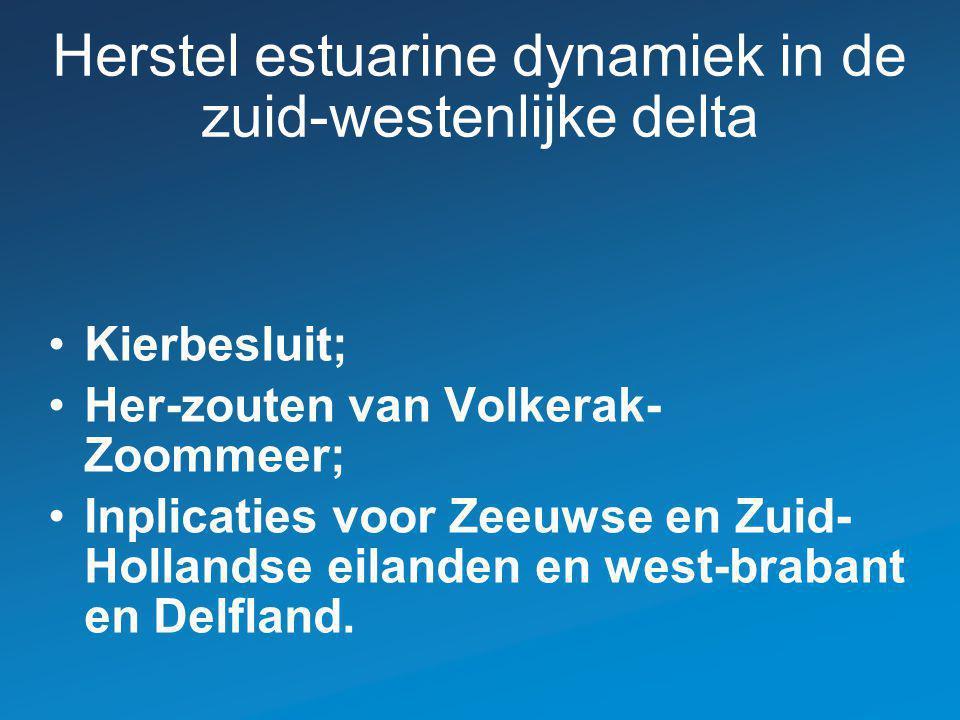 Herstel estuarine dynamiek in de zuid-westenlijke delta Kierbesluit; Her-zouten van Volkerak- Zoommeer; Inplicaties voor Zeeuwse en Zuid- Hollandse eilanden en west-brabant en Delfland.