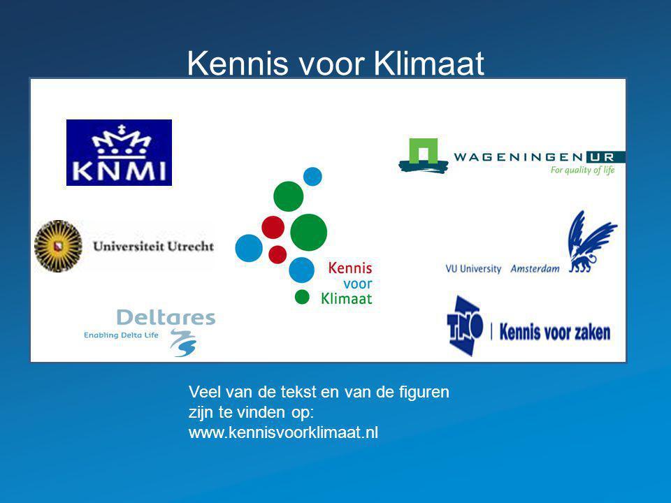 Kennis voor Klimaat Veel van de tekst en van de figuren zijn te vinden op: www.kennisvoorklimaat.nl