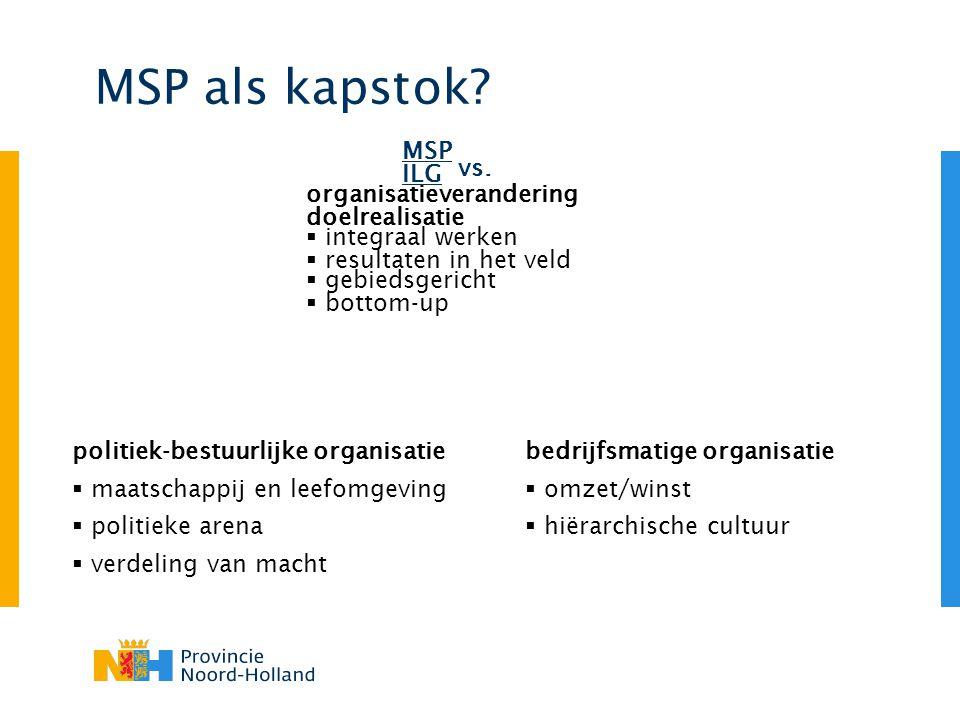 MSP als kapstok? vs. MSP organisatieverandering  integraal werken  gebiedsgericht ILG doelrealisatie  resultaten in het veld  bottom-up bedrijfsma