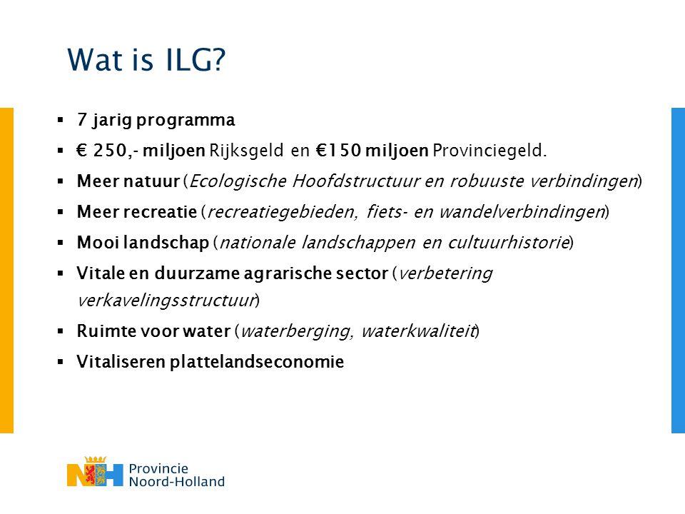 Wat is ILG?  7 jarig programma  € 250,- miljoen Rijksgeld en €150 miljoen Provinciegeld.  Meer natuur (Ecologische Hoofdstructuur en robuuste verbi