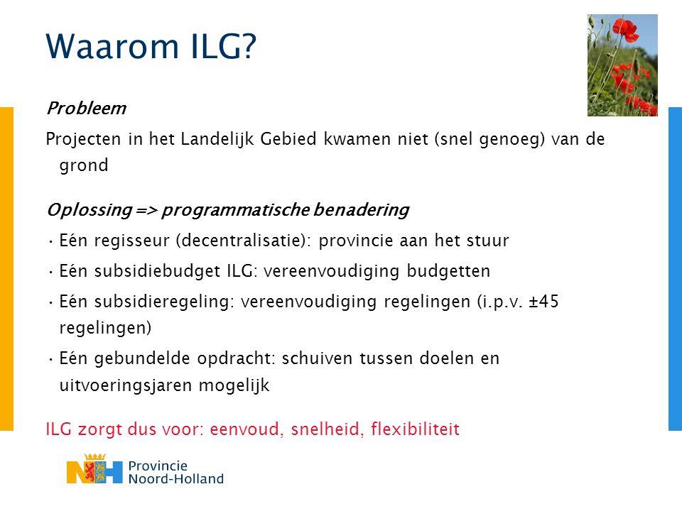 Waarom ILG? Probleem Projecten in het Landelijk Gebied kwamen niet (snel genoeg) van de grond Oplossing => programmatische benadering Eén regisseur (d