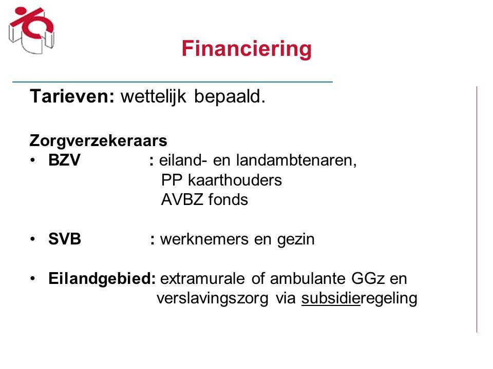 Financiering Tarieven: wettelijk bepaald. Zorgverzekeraars BZV : eiland- en landambtenaren, PP kaarthouders AVBZ fonds SVB : werknemers en gezin Eilan