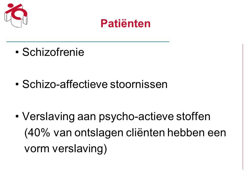 Patiënten Schizofrenie Schizo-affectieve stoornissen Verslaving aan psycho-actieve stoffen (40% van ontslagen cliënten hebben een vorm verslaving)