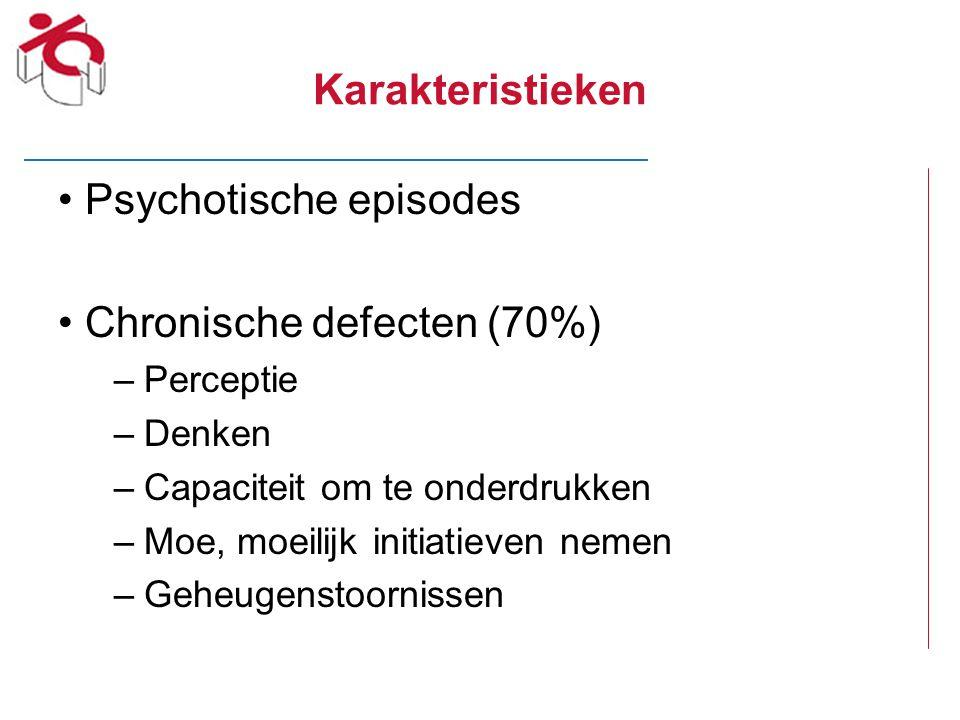 Karakteristieken Psychotische episodes Chronische defecten (70%) –Perceptie –Denken –Capaciteit om te onderdrukken –Moe, moeilijk initiatieven nemen –