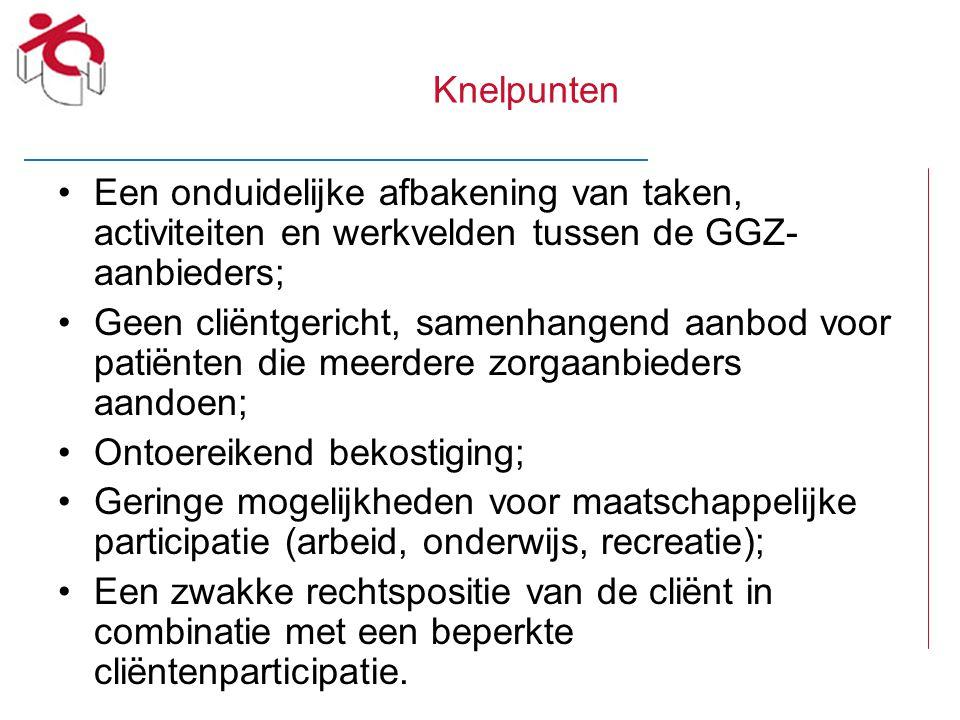 Knelpunten Een onduidelijke afbakening van taken, activiteiten en werkvelden tussen de GGZ- aanbieders; Geen cliëntgericht, samenhangend aanbod voor p