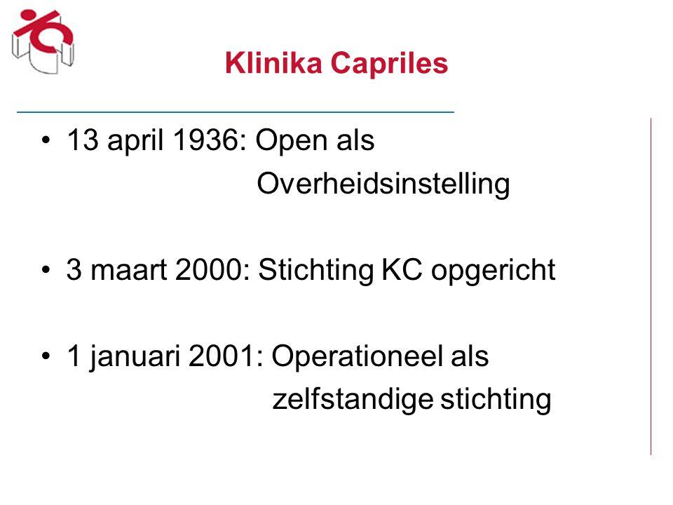Klinika Capriles 13 april 1936: Open als Overheidsinstelling 3 maart 2000: Stichting KC opgericht 1 januari 2001: Operationeel als zelfstandige sticht