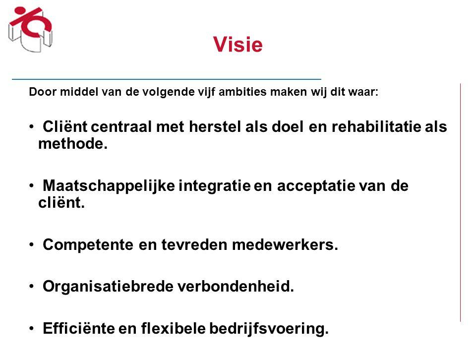 Visie Door middel van de volgende vijf ambities maken wij dit waar: Cliënt centraal met herstel als doel en rehabilitatie als methode. Maatschappelijk