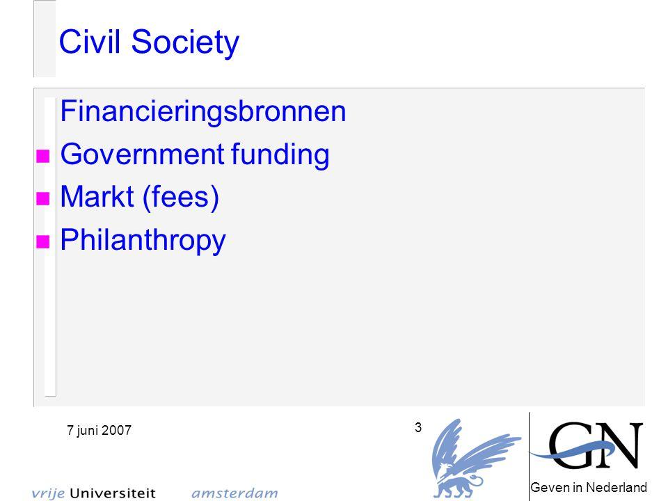 Geven in Nederland 7 juni 2007 14 Conclusie Civil Society is werkelijkheid GiN PAO 'Philanthropic Studies'