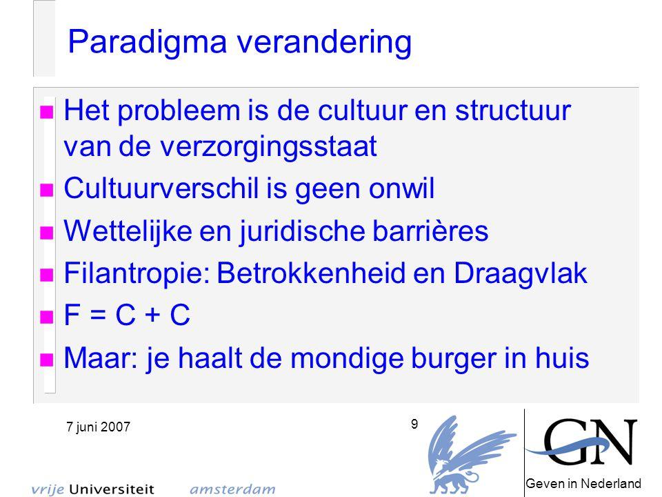 Geven in Nederland 7 juni 2007 10 Nieuwe rollen 1 Vermogenden Oud geld Nieuw geld De heilige en het sociale dilemma Quote Marakele DIY