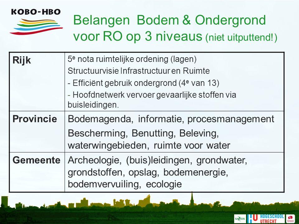 Belangen Bodem & Ondergrond voor RO op 3 niveaus (niet uitputtend!) Rijk 5 e nota ruimtelijke ordening (lagen) Structuurvisie Infrastructuur en Ruimte