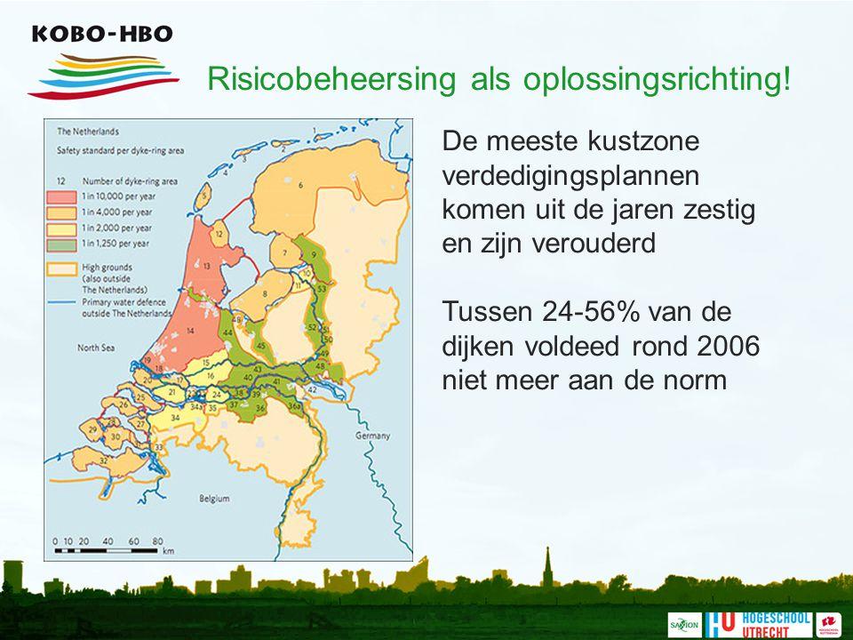 Risicobeheersing als oplossingsrichting! De meeste kustzone verdedigingsplannen komen uit de jaren zestig en zijn verouderd Tussen 24-56% van de dijke