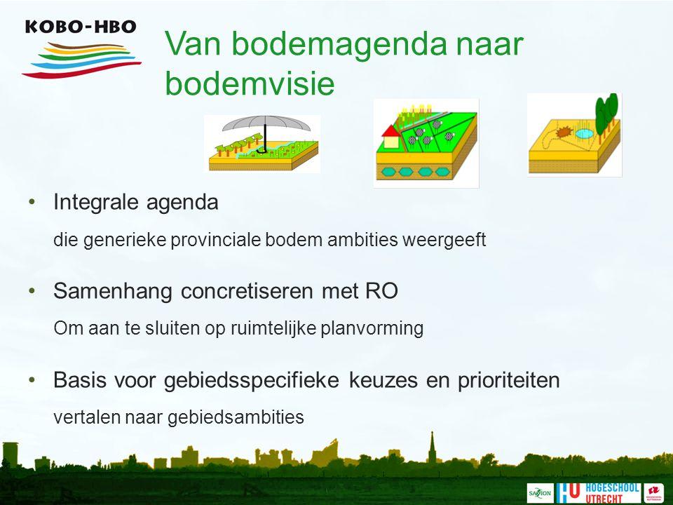 Van bodemagenda naar bodemvisie Integrale agenda die generieke provinciale bodem ambities weergeeft Samenhang concretiseren met RO Om aan te sluiten o