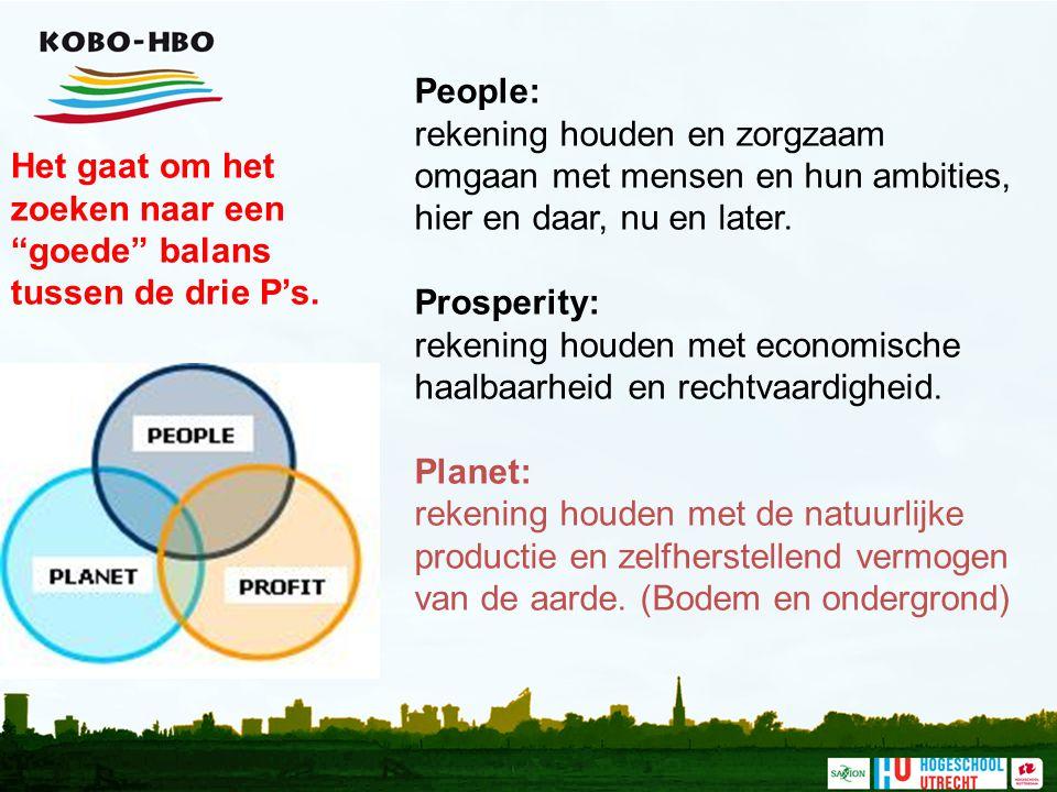 People: rekening houden en zorgzaam omgaan met mensen en hun ambities, hier en daar, nu en later. Prosperity: rekening houden met economische haalbaar