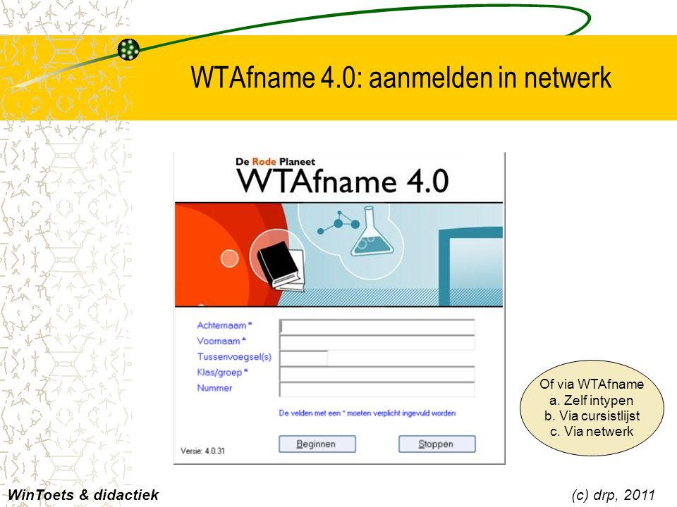 WTAfname 4.0: aanmelden in netwerk WinToets & didactiek(c) drp, 2011 Of via WTAfname a. Zelf intypen b. Via cursistlijst c. Via netwerk