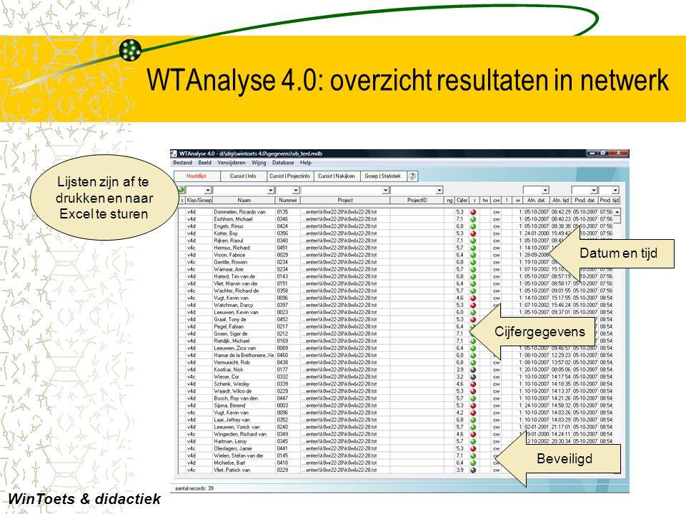 WTAnalyse 4.0: overzicht resultaten in netwerk Lijsten zijn af te drukken en naar Excel te sturen WinToets & didactiek Datum en tijd Cijfergegevens Be