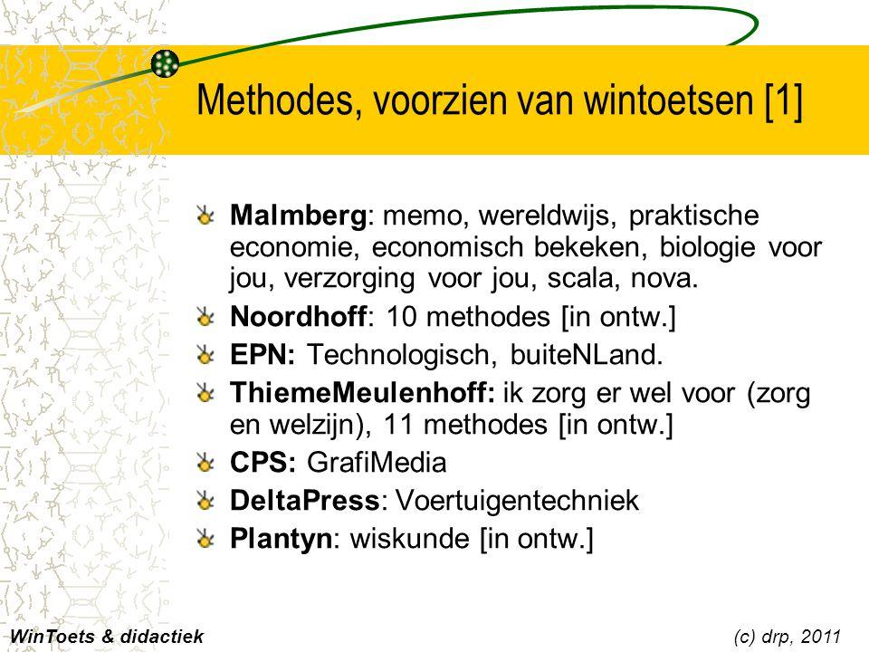 Methodes, voorzien van wintoetsen [1] Malmberg: memo, wereldwijs, praktische economie, economisch bekeken, biologie voor jou, verzorging voor jou, sca