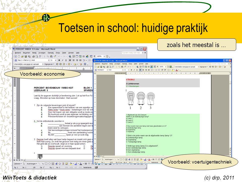 Hoe WinToets het doet [database] Met WinToets beheert u alle vragen voor een heel onderwerp, boek of leerjaar in één database –[bronnen] Koppel aan vragen leesteksten, geluid en beeld, voor auditieve en visuele ondersteuning.