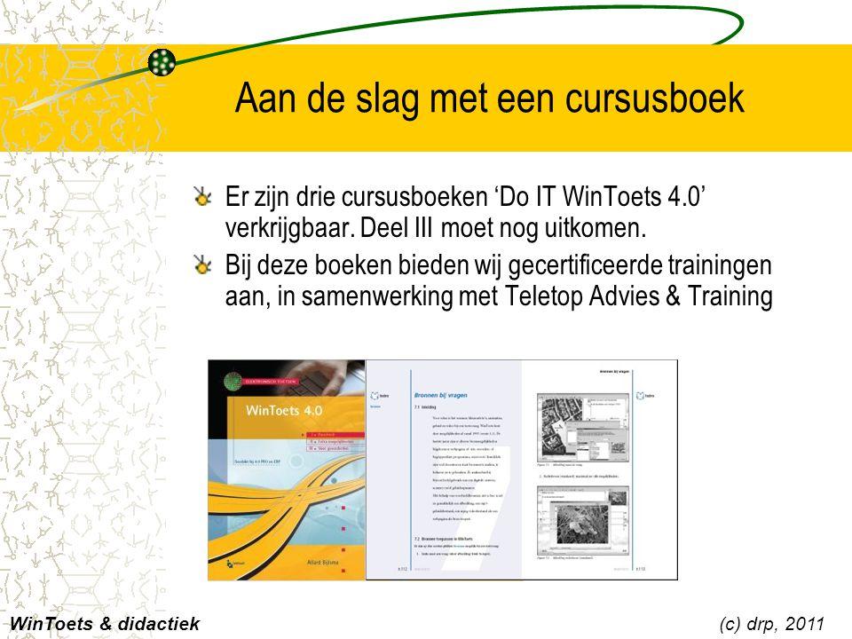 Aan de slag met een cursusboek Er zijn drie cursusboeken 'Do IT WinToets 4.0' verkrijgbaar. Deel III moet nog uitkomen. Bij deze boeken bieden wij gec
