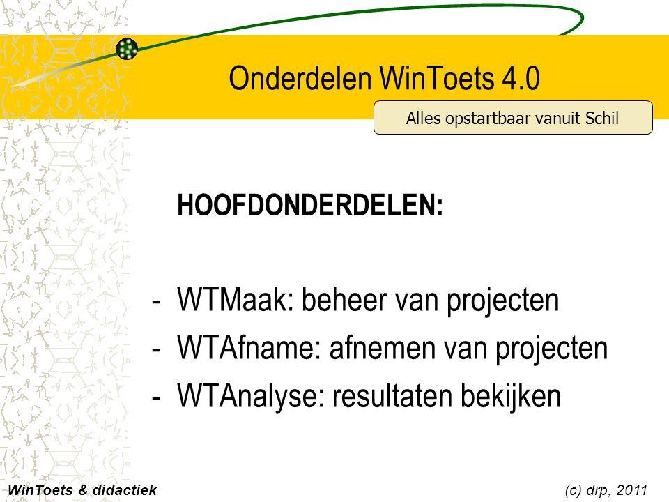 Onderdelen WinToets 4.0 WinToets & didactiek(c) drp, 2011 HOOFDONDERDELEN: -WTMaak: beheer van projecten -WTAfname: afnemen van projecten -WTAnalyse: