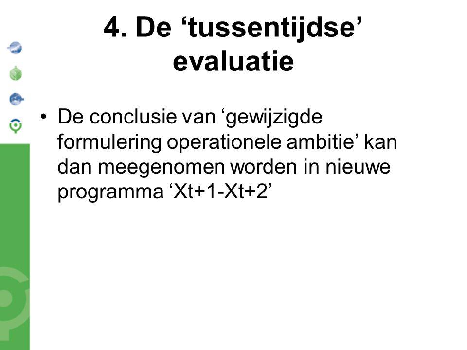 4. De 'tussentijdse' evaluatie De conclusie van 'gewijzigde formulering operationele ambitie' kan dan meegenomen worden in nieuwe programma 'Xt+1-Xt+2
