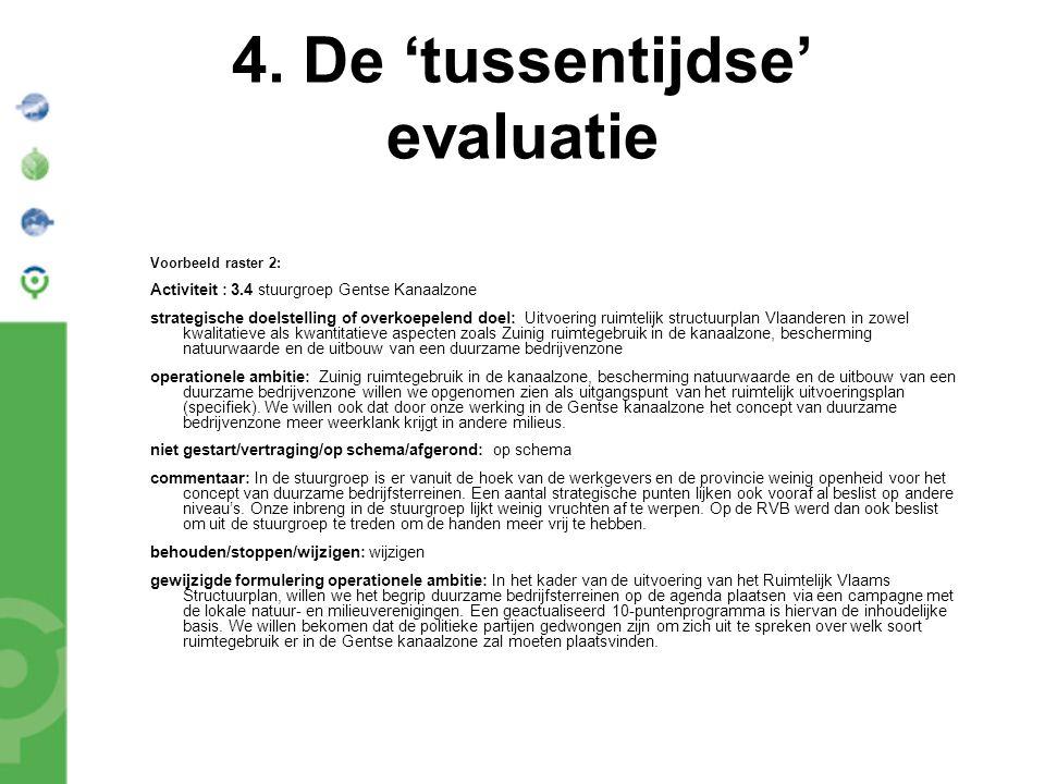 4. De 'tussentijdse' evaluatie Voorbeeld raster 2: Activiteit : 3.4 stuurgroep Gentse Kanaalzone strategische doelstelling of overkoepelend doel: Uitv